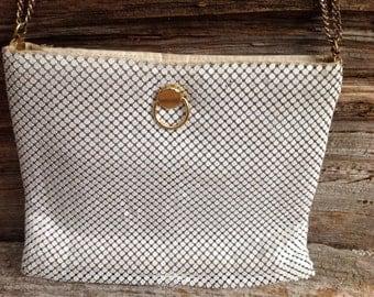 Vintage White Metal Mesh Evening Bag/ Purse special occasion/wedding/bridal/prom/casual/vintage/