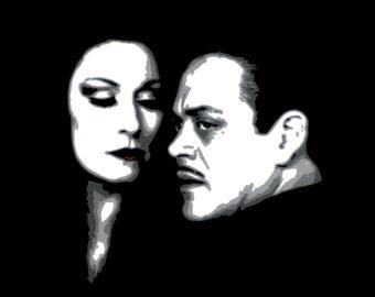8.5x11 Print of Morticia and Gomez Addams