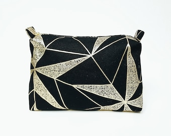 Black/Gold Line pouch, makeup bag,travel pouch, cosmetic pouch