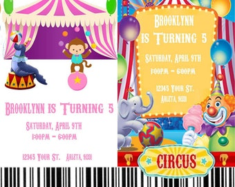 Circus/Carnival Printable 4x6 or 5x7 Birthday Party Invitations