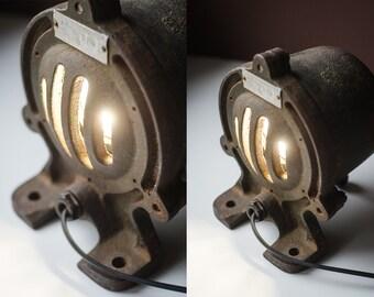 Industrial Table Lamp | Steampunk Lamp | LED Lamp | Steampunk Lighting | Minimal Decor | Retro Home Decor | Nightlight | Concrete Lamp
