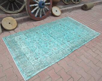 Oriental Rug,Lovely Colors Rug,Turkish Rug,Blue Oushak,Decorative Rug,Turkish Vintage Rug,Floor Rug,Handmade Rug,Vintage Rug, 4'1''x7'6''Ft