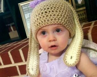 ALL SIZES Crochet bunny ears hat, Crochet Easter Hat, Crochet floppy ear bunny hat, Made to order