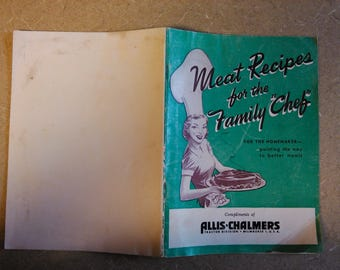 "1951-52 Cookbook -- Meat Recipes for the Family ""Chef"" -- FREE Shipping!"
