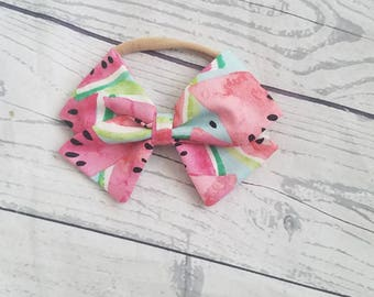 Baby Girl, Toddler, Fabric Watermelon, Summer, Hair Bow
