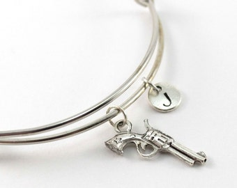 REVOLVER charm bangle, revolver charm bracelet, personalized bangle, initial bangle, personalized bracelet, charm bracelet, initial jewelry