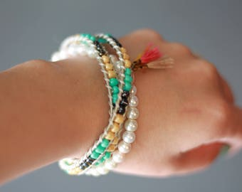 Summer Boho Handmade Leather Wrap Bracelet and Stack Bracelet with Tassels