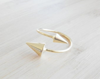 Spike Gold Plated Ring, Spike Ring, Adjustable Ring, Ring Geometrical, Gold Spike Ring, Double Spike Ring Adjustable, Geometric Jewelry