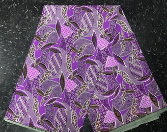 African Fabric, African Materials, Ankara, Wax Print - Lilac Violet Purple Gray