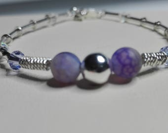 Agate bracelet, sterling silver, beaded bracelet, handmade bracelet