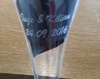 Glas graveren letter / gepersonaliseerde geschenk / gegraveerd / cadeau / white glas wijn / champagne glas, glas met rode wijn / glas /.
