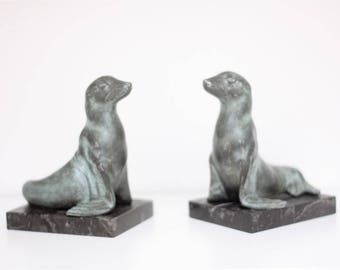 French Art Deco Sculpture Pair of Sea Lion Bookends Signed M.Font