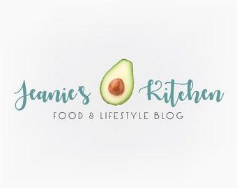 Premade Logo Design - Avocado Logo Food Blog Logo