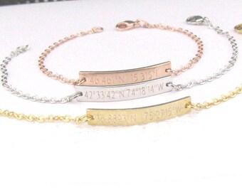 Custom Coordinates Bracelet, Personalize Rose Gold Or Silver Bar Bracelet, Location Bracelet, Latitude Longitude Bracelet, Custom Bracelet