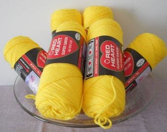 Lot of 6 smaller 3 oz 85g Red Heart Super Saver skeins in color 0324 Bright Yellow Acrylic destash worsted weight yarn