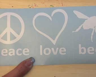Peace love bee decal