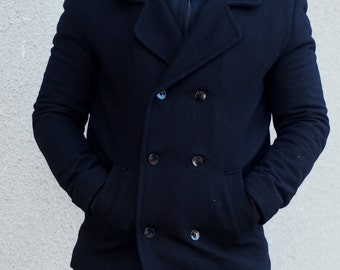 BLACK cashmeere mens coat/black men's coat with buttons/black mens cashmeere jacket by Adrenaline/