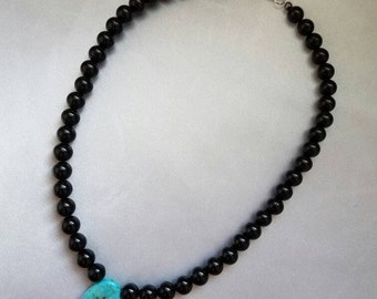 "16"" Black & Turquoise Necklace"