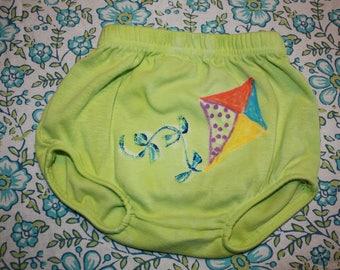 Green Batik Diaper Cover with Kite