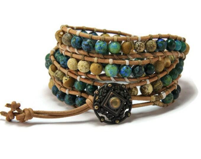 Boho Eartha * Jasper and Chrysocolla Brown Multi Leather Strand Boho Style Women Wrap Bracelet