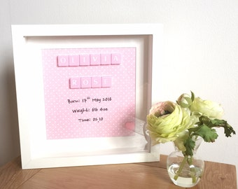 Scrabble wall art, Scrabble pictures - Personalised Birth Announcement