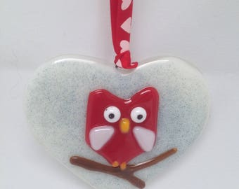 Fused glass owl heart -red