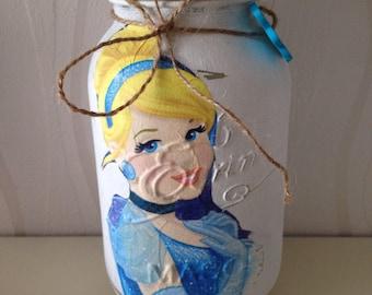 Disney Belle/ Cinderella 1L Mason Jar, beauty and the beast, belle, disney, princess, storage, money jar, valentines gift, Mothers day