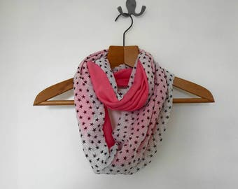 Coral and star-print jersey infinity scarf