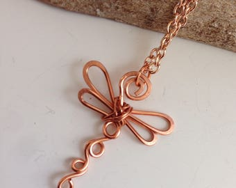 Copper dragonfly necklace, mini dragonfly pendant, handmade jewellery, wire wrap jewelry, summer wear, inspired by nature, gift for her