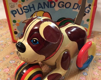 Vintage Tin Push and Go Dog/ Collectors Tin Toy/ Made in China