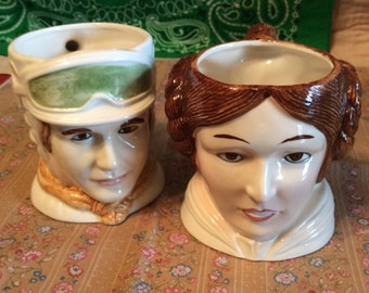 Vintage 1983 Sigma Star Wars Princess Leia and Hans Solo Mugs/The Tastesetter Made in Japan