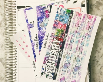 January Monthly Kit (Stickers for Erin Condren Life Planner)