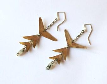 Long earrings, smoky quartz chandelier earrings, gift