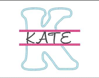 Embroidery Font, Split Monogram Applique Font