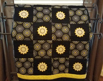 Handmade Quilt with Applique Flowers