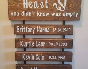 Grandkids fill a place in your heart you didn't know was empty- personalized sign