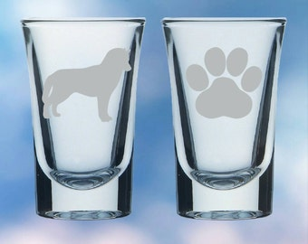 Set of 2 Husky and paw shot glasses - gift - permanently etched