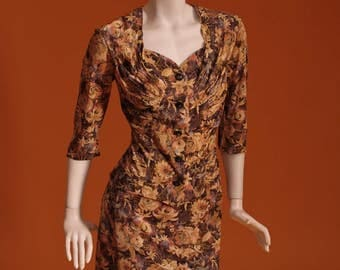 1940s / 1950s Womens Vintage Skirt / Jacket / Suit / Floral Print Jersey. UK Size 10