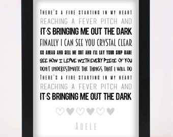 Adele - Rolling in the deep Pop and Indie Prints Typography Poster Print
