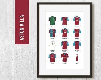 PERSONALISED Villa Team Print, Football Poster, Football Gift, FREE UK Delivery
