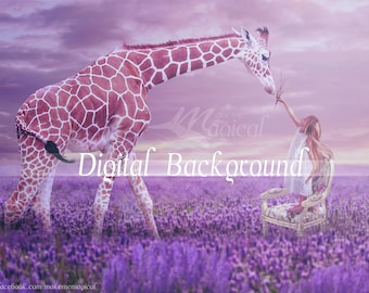 Lavender Field Background | Lavdender Digital Backdrop | Digital Backdrop | Digital Background | Lavender Field | Giraffe Backdrop | Digital