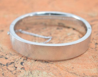 Simple Brushed Hinged Bangle Bracelet Sterling Silver 25.5g