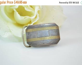 On Sale Two-Tone Striped Subtle Patterned Belt Buckle Sterling Silver 11.7g