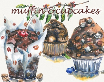 Muffin clipart, Cake clipart, watercolor cupcake clipart, cofee clipart, sweets, watercolor clipart, food clipart, Digital, Painted