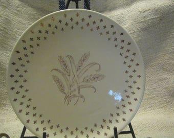 ship free Golden Wheat Fleur de Lis Pattern 7 inch bread  Plate