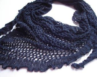 Triangle scarf, Navy blue scarf, Crochet navy scarf, Knit lace scarf, Fishnet scarf, fishnet knit scarf, Cotton knit scarf, handknit scarf