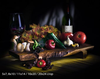 Wine and Veggies Still Life Light Painting Series Color