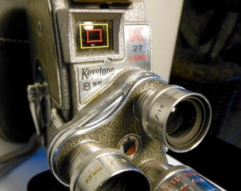 1950s KEYSTONE MOVIE CAMERA - Highly Collectable, Triple Lens, Keystone Model K-27 is being Sold with Original Leather Case