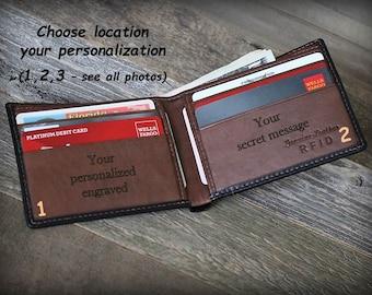 Father's Gift - Slim Men's Wallet - Birthday Gift - Minimalist Mens Leather Wallet - Personalized Wallet -Monogram Wallet -Custom Wallet7720