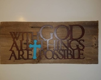 Reclaimed Barnwood-Faith-With God-metal sign-cross